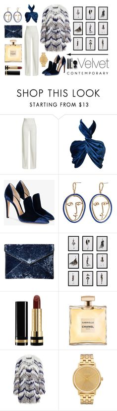 """Style it with Velvet"" by anastasiaralph ❤ liked on Polyvore featuring Brandon Maxwell, Versace, Gianvito Rossi, MANGO, Rebecca Minkoff, Frontgate, Gucci, Yves Salomon, Nixon and Bobbi Brown Cosmetics"