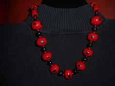 Large Striking Red Single Strand Chunky by HeyGrandmaHadThat
