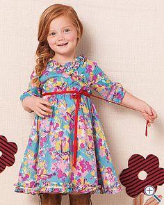 cute wrap dress with ruffles.. garnet hill makes kids clothes?!?!