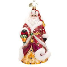 Christopher Radko Shimmering Glass Santa Christmas Ornament - New for 2014 - 6.