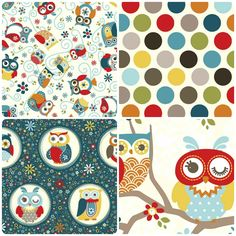 Blue Cream, Red And Blue, Textile Patterns, Textiles, Owl Fabric, Dream Wall, Owls, Fabric Design, Close Close