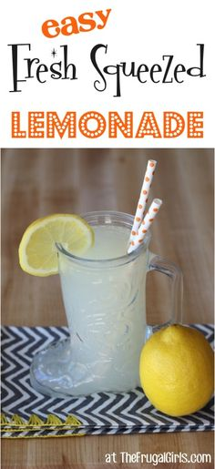 Fresh Squeezd Lemonade Recipe! So EASY!   Go grab the lemons and get ready for some seriously delicious homemade lemonade! | TheFrugalGirls.com