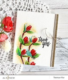 Altenew Floral Sprig Thank You card by Yoonsun Hur