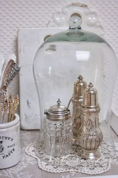Vintage sugar casters, plus glass cloche, just lovely Vintage Silver, Antique Silver, Rose Shabby Chic, Cloche Decor, Vibeke Design, The Bell Jar, Bell Jars, Silver Trays, Apothecary Jars