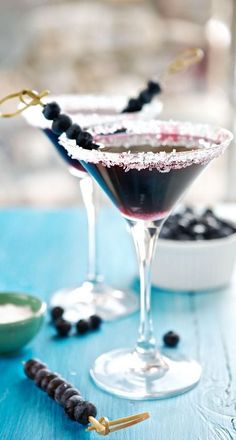 Blueberry Martini: A chic drink filled with antioxidants and a sweet sugared rim. Courtesy of Marla Meridith of Family Fresh Cooking.