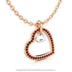 Rose Gold Ruby Pendant Two Hearts