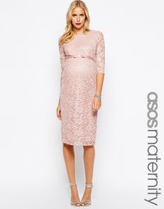 bf5bf1482eab Maternity Exclusive Lace Bodycon Dress With 3 4 Sleeve And Ribbon Detail