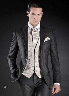 ONGala 961 - Grey Fashion Suits with Jacquard waistcoat