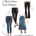4 Must Have Bottoms for Fall | now live on www.AskSuzanneBell.com | denim skirt, skinny jean, flare jean, leather legging