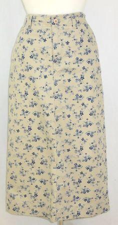 Eddie Bauer Long Skirt Country Floral Cotton Front Zip Blue Beige Petite 12 P #EddieBauer #StraightPencil
