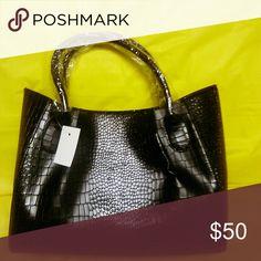 Black Tote Bag Black faux leather crocodile embossed tote bag. Bags Totes