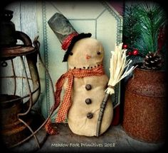 Primitive Handcrafted Folk Art Snowman-Shelf Sitter-Cupboard Tuck--Winter-Christmas-Christmas decoration, Farmhouse decor, Made to Order by MeadowForkPrims on Etsy Modern Farmhouse Design, Vintage Farmhouse, Farmhouse Decor, Farmhouse Style, Primitive Snowmen, Primitive Crafts, Primitive Christmas, Handmade Christmas, Family Traditions