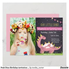 Pink Dino Birthday invitation with Photo Pink Invitations, Custom Invitations, Wedding Invitations, Colored Envelopes, White Envelopes, Dinosaur Birthday Invitations, Envelope Liners, Special Occasion, Shapes