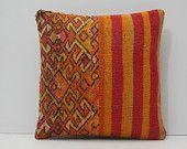 orange pillow cover 18x18 pillow case decorative sofa pillow decorative pillow cover throw pillow couch burnt orange kilim pillow sham 17337