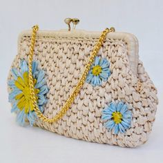 Vintage Tan and Blue Flower Raffia Handbag or by NevermoreVintage, $26.00