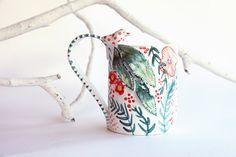 sculpture ceramic coffee mug flower and bird cup by BottegaKrua