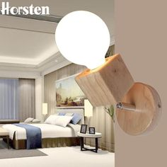 Horsten Japanese Wooden Wall Lamp #LampBedroom