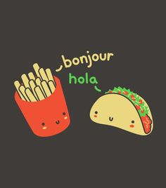 Foodie punny t-shirt with french fries and a taco. French and Spanish love. Ketchup your pun wardrobe with this funny pun tshirt.