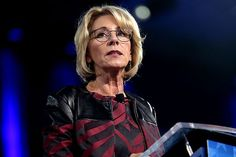 Teachers' unions just gave DeVos an 'F' for her first year. Education secretary and school choice proponent Betsy DeVos continues to incite anger among those on the left with her ignorant and misguided public statements about education policy and philosophy.