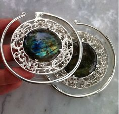 -these stunning weights are made by Diablo Organics and have labradorite set in silver.