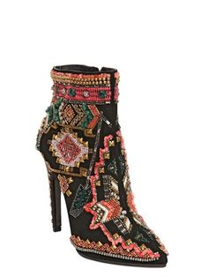 "115MM SUEDE EMBROIDERED ANKLE BOOTS  ""I can't quit you"""