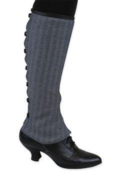 1800s Ladies Gray Stripe,Floral,Herringbone Spats | 19th Century | Historical | Period Clothing | Theatrical || Ladies Reversible Gaiters - Gray Herringbone
