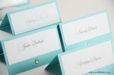 Robins Egg Blue Wedding Place Cards,  Aqua Weddings, Elegant Wedding Escort Cards, Seating Assignment- Set of 12
