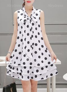 Dress - $19.85 - Chiffon Polka Dot Sleeveless Knee-Length Casual Dresses (1955147324)