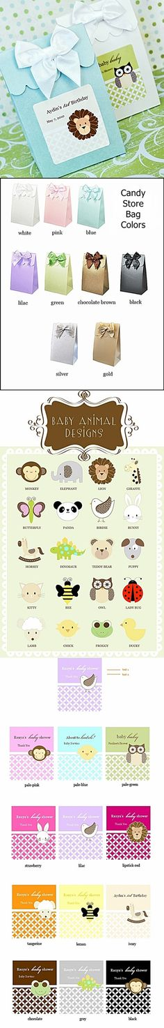 Adorable Baby Animals Candy-Store Bags (Set of 12)