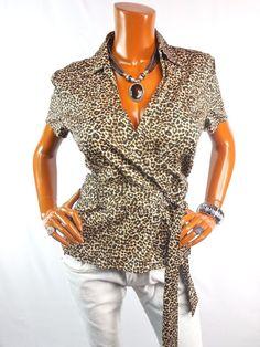 0264440eb22 SCOTT TAYLOR Womens Top XL NWT  24 SEXY Wrap Shirt Stretch Animal Print.  eBay. Fashion BlousesWrap ...