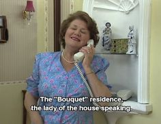 Keeping Up Appearances: bouquet residence lady of the house speaking - loved this show British Tv Comedies, British Comedy, British Actors, Appearance Quotes, English Comedy, Keeping Up Appearances, British Humor, Bbc Tv, Comedy Tv