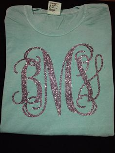 Glitter Monogram SHORT SLEEVE Comfort Colors by christylous, $25.00