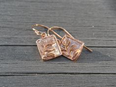 Petite Leaf Earrings // Rose Gold Earrings by CloverBlueToo