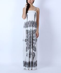 Look at this Collective Rack Off-White Arabesque Maxi Dress on #zulily today!