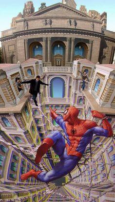 Spiderman chalk art