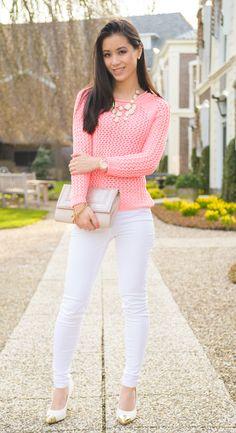 Outfit: Koraal roze trui - http://www.thebeautymusthaves.com/2013/04/outfit-koraalroze-trui.html