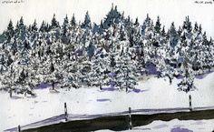 """La neve, veramente copiosa quest'anno, copriva la terra e gli abeti, sul pendio di fronte la nostra finestra. Complice un po' di sole e la voglia di sciare, ed ecco una bellissima giornata di divertimento.Ovindoli (AQ)Acquerello, matita e penna Pilot """"Slicci""""Febbraio 2013"""