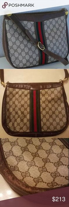 Gucci Vintage Brown GG Monogram Hobo Shoulder Bag Authentic bag, Vintage item from the 1960s. As shown in the pictures it does have small tears that can be fixed. It can be used as shoulder bag or hand bag. Very stylish and beautiful. Gucci Bags Shoulder Bags