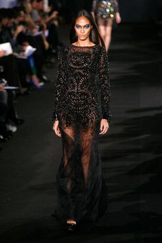 Joan Smalls and a gorgeous beaded gown at Prabal Gurung FW 12 show