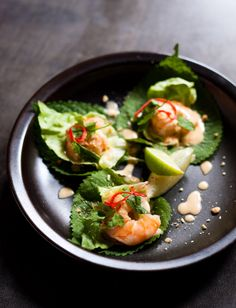 Pot luck club - fried prawns with tom ka gai butter, sesame leaf and roasted chopped peanuts Tom Kha Soup, Prawn Shrimp, Recipe Boards, Best Dishes, Small Plates, Culinary Arts, Food Lists, Foodie Travel, Food Design