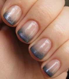 Using any polish of your choice pour onto a flat surface, take one of those spongy eyeshadow applicators and dip into the polish, dab the polish on your nail concentrating at the tip and moving slightly upward. Repeat until you get the desired effect. Put a topcoat over the entire nail.