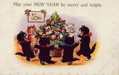 1920s New Year postcard cats