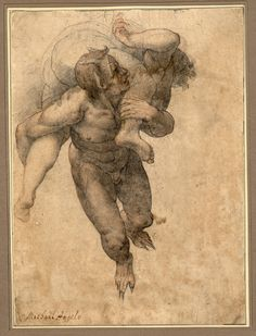"Federico Zuccaro ca. Devil Carrying Off a Damned Soul, after Michelangelo's ""Last Judgement"". Verso: Male Torso of a Scorticato (Flayed Figure) Life Drawing, Figure Drawing, Drawing Sketches, Painting & Drawing, Art Drawings, Michelangelo, Rennaissance Art, Human Anatomy Art, Renaissance Kunst"