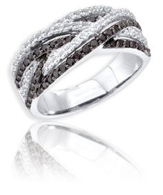 Black and White Micro Pave Diamond Ring – .88 « Blast Gifts