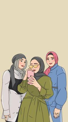Cute Couple Art, Cute Couples, Cute Cartoon, Cartoon Art, Hijab Drawing, Best Friend Drawings, Hijab Cartoon, Hijabi Girl, Anime Girl Cute