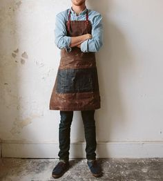 Charles Men's Waxed Canvas & Leather Apron by Sturdy Brothers on Scoutmob