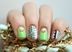 Lime Tribal Nails