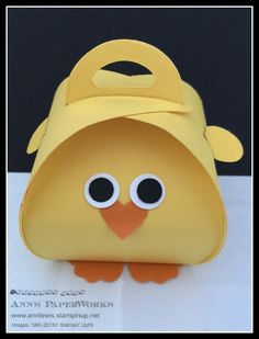 Easter Chick Curvy Keepsake Box Stampin' Up! - Ann Lewis, Ann's PaperWorks, tutorial on website.