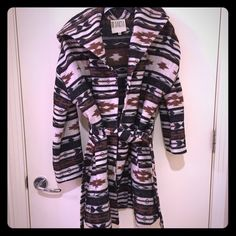BB Dakota jacket. Size med turkey sale Fun southwestern print. Wrap jacket with hood. No buttons or zip just tie. In prefect shape. Can be worn as a jacket or open sweater. BB Dakota Jackets & Coats