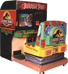 Jurassic Park the arcade game, I LOVED IT (especially the moving chair) Jurassic Park Toys, Jurassic Park Series, Jurassic Park 1993, Jurassic World, Jurassic Park Video Game, Arcade Game Room, Arcade Games, Wii, Super Street Fighter